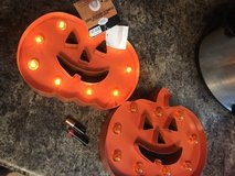 2-Halloween Metal Pumpkin Light Up Led Marquee Sign Decor On/off Battery Operated in Cleveland, Texas