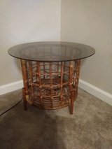 Bamboo side table with glass top in Fort Benning, Georgia