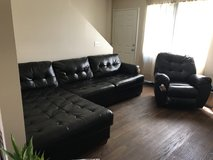 Black leather sectional + recliner in Barstow, California