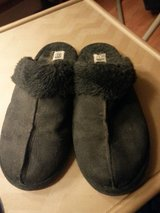 LIKE NEW BLACK SUEDE SLIPPERS in Elgin, Illinois