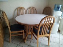 CORIAN & OAK 6 CHAIR TABLE W/LEAF in Schaumburg, Illinois