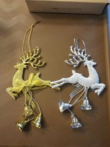 NEW SILVER OR GOLD CHRISTMAS DEER ORNAMENTS in Elgin, Illinois