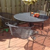 Outdoor Table and chairs, plus umbrella/stand in Bartlett, Illinois