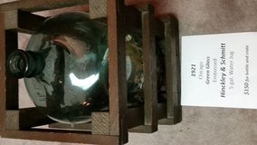 Water Jug Hinckly & Schmitt 1921 Chicago Embossed Green Glass; with crate in Plainfield, Illinois