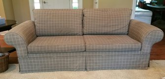 Contemporary Sofa Couch Gray with Wheat Stripes Rolled Arm in Plainfield, Illinois