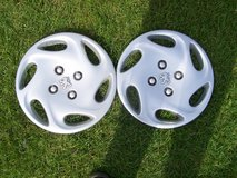 PEUGEOT 14 INCH WHEEL TRIMS/HUBCAPS X2 in Lakenheath, UK