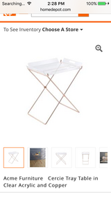 Acme Furniture Cercie Tray Table in Clear Acrylic and Copper in Warner Robins, Georgia