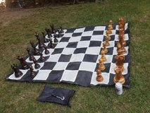 """Teak Chess Set with an 8"""" or 12"""" King and Nylon Chess Board in San Clemente, California"""