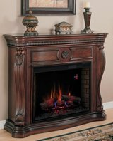 ELECTRIC INFRARED WOOD-BURNING LOOKING WOOD CARVED DESIGNER FIREPLACE, w/REMOTE! in Katy, Texas