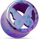 Purple butterfly tunnels body jewelry in Camp Lejeune, North Carolina