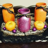 Halloween centerpiece, that includes 3 pint sized, chalk painted mason jars. in Louisville, Kentucky