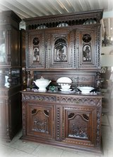 rare Brittany dining room hutch with ornate carvings in Wiesbaden, GE