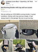 BOB running stroller w/ tray and sun cover in Quantico, Virginia