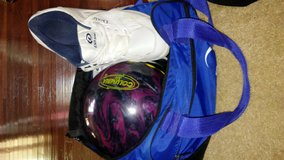 Bowling ball 16lb bag shoes 9 in Fort Belvoir, Virginia