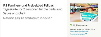 Day ticket for 2 people for bathing, swimming and saunas at F3 Fellbach in Stuttgart, GE