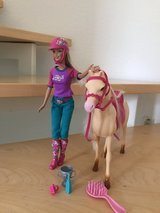 Barbie doll and tawny horse set in Ramstein, Germany