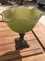 Green glass dish in 29 Palms, California