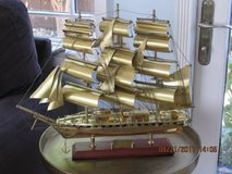 Brass Scale Model Of Tall Ship in Travis AFB, California