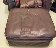 Large Overstuffed Brown Plush Leather Ottoman Living Room Reading TV in Houston, Texas