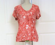 Ann Taylor Red White Flower XL Pull On Floral Women's Fitted Shirt Knit Top in Kingwood, Texas