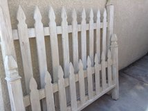 Shabby white queen size bed frame, rails included. Headboard and footboard in Las Vegas, Nevada