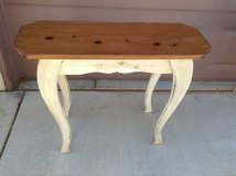 White shabby cottage painted sofa table, wooden top in Las Vegas, Nevada