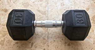 *REDUCED* 30 Pound Rubber Coated Cast Iron Hex Single Dumbbell in Okinawa, Japan