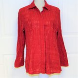 Chico's Large (2) Red Button Up Stripe Silver Thread Women Knit Top Blouse Shirt in Kingwood, Texas