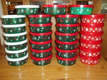 BULK LOT OF 27 ROUND PLASTIC CHRISTMAS CONTAINERS WITH LIDS - NEW & UNUSED! in Cherry Point, North Carolina