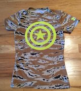 Under Armour Marvel Captain America T-shirt Camoflauge Youth Boys Large in Plainfield, Illinois