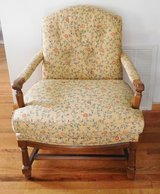 Over stuffed chair with padded arms wood floral print Traditional style furniture in Naperville, Illinois