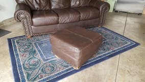 Brown Leather Couch & Ottoman in Sugar Grove, Illinois