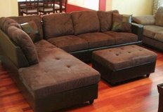 Brown Microfiber sectional couch incl. Ottoman in Fort Lewis, Washington