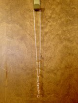 "Silver Chain w/Peach Stones Necklace - 16 1/2"" in Naperville, Illinois"
