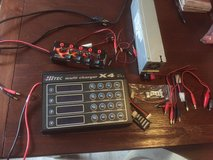 HITEC Multi Charger x4 with Dual voltage Mod power supply and multi distributor in Ramstein, Germany