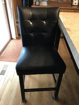 Counter height black leather chairs set of 4 in Elgin, Illinois