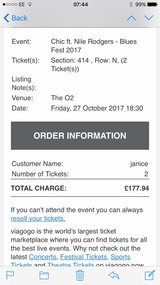 Two tickets to see Chic in Lakenheath, UK