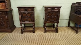 Pair of Carved Oak Cupboards by Maple and co Free Delivery in Lakenheath, UK