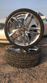 4 chrome double 5-spoke car wheel with tires in El Paso, Texas