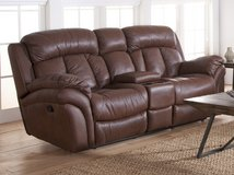 REAL LEATHER THEATER SEAT LOVE SEAT in Riverside, California