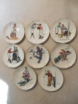 NEW LOWER PRICE Set of 8 Norman Rockwell 10 1/2 Inch Plates - 1974 and 1979 Limited Editions in Chicago, Illinois