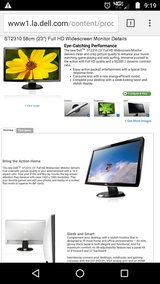 "dell lcd monitor 23"" dvi hdmi audio in and out ports and more in Galveston, Texas"