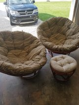 Set of papasan chairs and foot stool in Fort Knox, Kentucky