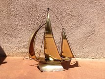 Vintage brass and copper Sail boat on marble base in Yucca Valley, California