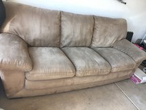 brown microfiber couch in Yorkville, Illinois