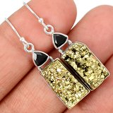 New - Peruvian Golden Pyrite and Onyx 925 Sterling Silver Earrings in Alamogordo, New Mexico