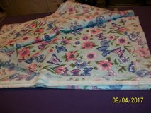new light blue fabric with flowers & butterflies (almost 4 yds) in Goldsboro, North Carolina