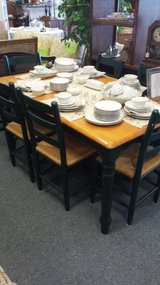 Wood and green leg table with 6 chairs in Bartlett, Illinois