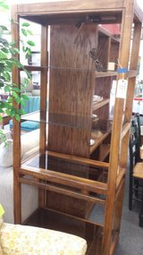 Lighted wood shelf unit in Naperville, Illinois
