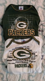 3-6 month Packers onesies in Camp Lejeune, North Carolina